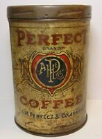 Old Vintage 1920s PERFECT COFFEE TIN GRAPHIC TALL 1 POUND CAN FORT WAYNE INDIANA