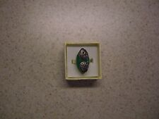 Tibetan Silver (925 Stamp) Marcasite and Dyed Green Jade Ring (Size 9)