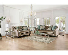 Elicia Sofa and Loveseat Champagne Living Room Furniture Set