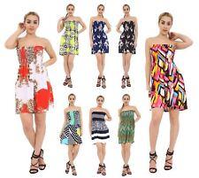 cd203ecd91 Women Shirring gather Boob Tube Bandeau Summer Mini Dress Strapless Top 8 -22