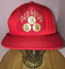 Vintage OLD GOLD Tobacco Cigarette Red Hat Cap Snapback w/ Rope Cord BIG PATCH