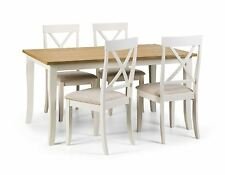 Julian Bowen Davenport Oak Ivory Rectangular Dining Table & 4 Chairs Solid Wood