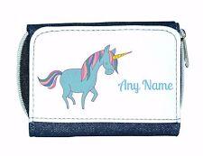 Personalised Girls/Ladies Denim Purse With Cute Blue Unicorn