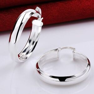"""Women's Fashion Jewelry 925 Sterling Silver 1 1/2"""" Solid Thick Hoop Earrings"""