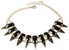 Amrita Singh Gold Black Resin Wisteria Spike Collar Bib Necklace NKC 5149 NWT