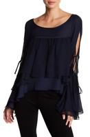Cinq a Sept Womens Navy Tessa Bell Sleeve Silk Top Sz XS 80053