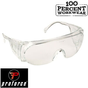 Clear Lens Vented Side Shield Arms Safety Spectacles Visitor Specs EN166 Glasses