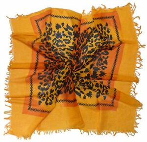 Orange Animal Print Cotton Square Scarf (ZO259)
