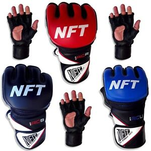 NFT MMA Gloves Leather Sparring Boxing Martial Arts Punch Bag Training Mitts UK