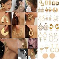 Fashion Round Large Circle Geometry Metal Ear Stud Earrings Women Party Jewelry