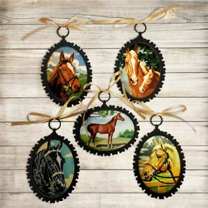 5 Antique Vintage Paint by Number Style Horse Lover Ornaments for Equestrain
