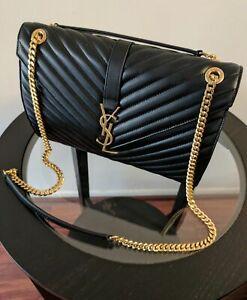 AUTHENTIC YSL Classic Large Monogram Saint Laurent Black Purse Leather Bag