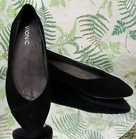 VIONIC BLACK SUEDE LEATHER LOAFERS SLIP ONS BUSINESS DRESS SHOES US WOMENS SZ 7