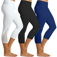 Damen Legging Stretch Sporthose Caprihose Fitness YOGA Gym Jogginghosen Leggins