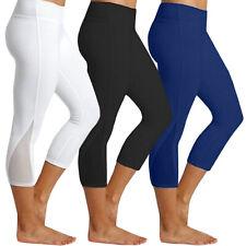 Ladies 3/4 Capri Yoga Leggings Pants Fitness Workout Sports Gym Cropped Pants