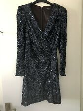 French Connection Navy Sequin Wrap Dress 10 Asos