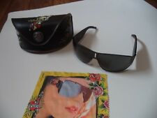 Gunmetal Wrap Around Ed Hardy Sunglasses With Decorative Case And Cleaning Cloth