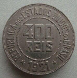 Brazil 400 Reis 1921 Copper-Nickel Coin S9
