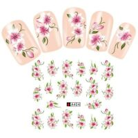 Nail Art Water Decals Stickers Transfers Pretty Dusty Pink Flowers Floral (A404)
