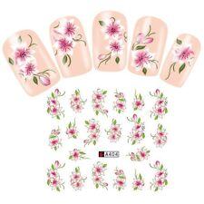 Nail Art Pegatinas Transfers Calcomanías de agua bastante Polvoriento Rosa Flores Floral (A404)