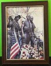 Vietnam Memorial Statue Memorial Day Framed Photograph US Flag