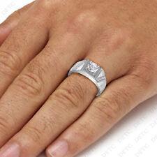 14K White Gold Finish Round VVS1 Diamond Engagement Ring Mens Wedding Pinky Band