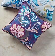 Anthropologie Pillow Navy Blue Floral Dianthe Accent Throw Boho Gold Foil Print