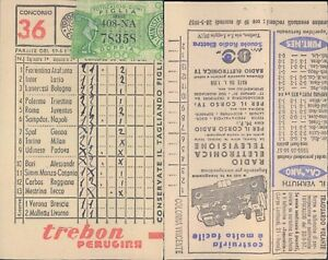R@R@ SCHEDA TOTOCALCIO 13 PARTITE+2 RISERVE CONC.N.36 DEL 1957  VALIDATA BELLA