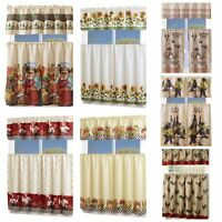 3 Piece Kitchen/Cafe Curtain With Swag and Tier Window Curtain Set