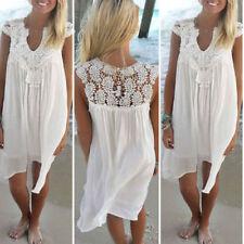 Vestiti da donna da spiaggia bianco in pizzo