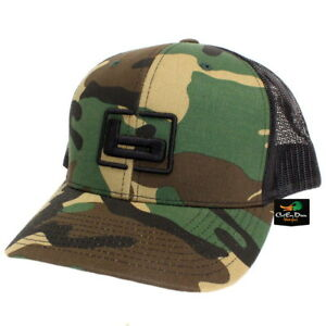 "NEW BANDED TRUCKER CAP MESH BACK HAT CLASSIC CAMO AND BLACK W/ ""b"" LOGO"
