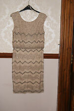Adrianna Papell Champagne Blouson Beaded Dress Prom Cocktail Party BNWT 12 £250