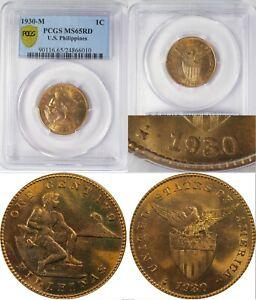 1930-M US/Philippines 1 Centavo RPD ~ PCGS MS65 RED ~ Allen#2.27b ~ 6010
