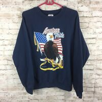 Vtg Tee Jays Mens Large Red White Blue American Pride Eagle Pullover Sweatshirt