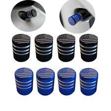 4x Black/Blue American Flag Type Wheel Tire Valve Cap Stem Cover Car Accessoires