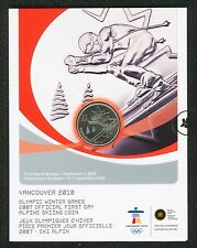 Canada 2007 Alpine Skiing Official First Day Vancouver Olympic 2010 25 cent Coin