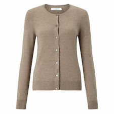 JOHN LEWIS CREW NECK 100% CASHMERE CARDIGAN COLOUR CAMEL SIZE UK 10 RRP £85.00