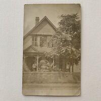 Antique RPPC Real Photograph Postcard Beautiful House Woman Postmark Buffalo NY