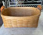 "Royce Craft Basket 19x14x7"" Handmade -Made In Ohio Leather Handles 1998 Vintage"