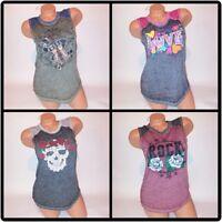 No Boundaries Tank Top Love Angel Rock Skull Sleeveless Raglan Fade Shirt