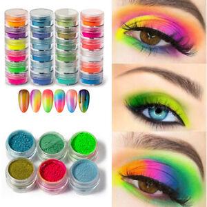 6 Boxes/Set Neon Nail Dust Powder Mixed Blooming Nail Glitter Women Decoration