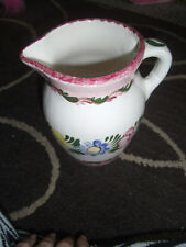 Handgemalt Signed Hand Painted Water PITCHER Shabby Cottage Chic Flowers Leaves