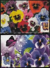 CANADA #2709a-b.1 - FLOWERS -PANSIES. BEAUTIFUL SET of 2 MAXIMUM CARDS