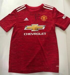 Bruno Fernandes Signed Manchester United Child Size Football Shirt AFTAL/UACC RD