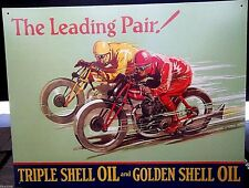 SHELL MOTOR OIL/GASOLINE/LEADING PAIR 40X30cm METAL WALL SIGN OIL/PETROL/GAS,USA