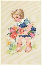Children Postcard - Small Girl with Flowers   2993