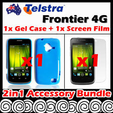 Telstra Frontier 4G Telstra Blue Soft Jelly TPU Gel Case Cover Screen Protector