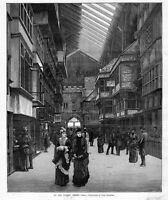ARCHITECTURE, OLD LONDON STREET, WOMENS FASHION, SKYLIGHT 1887 ANTIQUE ENGRAVING
