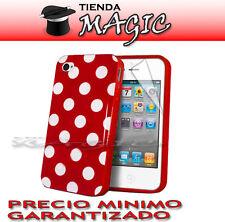 Funda carcasa LUNARES + PROTECTOR PANTALLA compatible iPhone 4 4S circulos ROJA