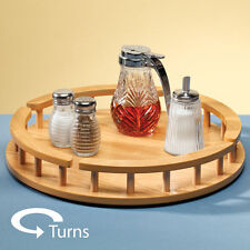 Lazy Susan Wooden Kitchen counter Storage Organizer Tabletop Condiment Holder